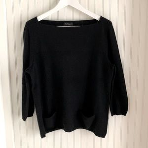 Lord & Taylor Black Cashmere Sweater with Pockets